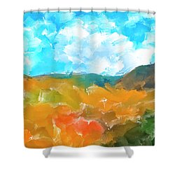 Shower Curtain featuring the mixed media In The Valleys by Mark Tisdale