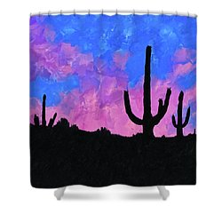 Shower Curtain featuring the mixed media Sonoran Desert Dreams by Mark Tisdale