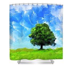 Shower Curtain featuring the mixed media Solitude - Lone Tree Landscape by Mark Tisdale