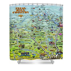 Texas Hill Country Cartoon Map Shower Curtain