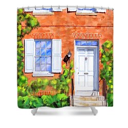 Shower Curtain featuring the mixed media Cozy Rowhouse Style by Mark Tisdale