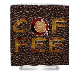 Shower Curtain featuring the painting Coffee Funny Typography by Georgeta Blanaru