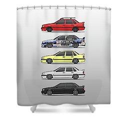 Stack Of Volvo 850r 854r T5 Turbo Saloon Sedans Shower Curtain