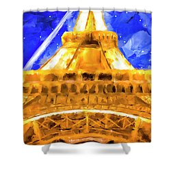 Shower Curtain featuring the mixed media Paris Ascending by Mark Tisdale