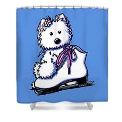Westie Skater Girl Shower Curtain by Kim Niles