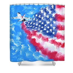 Shower Curtain featuring the mixed media Skies Over America by Mark Tisdale