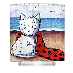 Kiniart Beach Blanket Westie Shower Curtain by Kim Niles