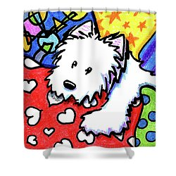 Pillow Pile Westie Shower Curtain by Kim Niles