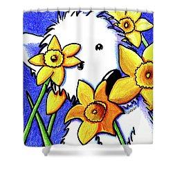 Kiniart Westie Daffodils Shower Curtain by Kim Niles