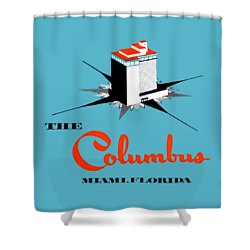 Shower Curtain featuring the painting 1955 Columbus Hotel Of Miami Florida  by Historic Image