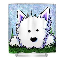 Kiniart Westie Springtime Shower Curtain by Kim Niles