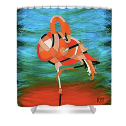 An Elegant Flamingo Shower Curtain