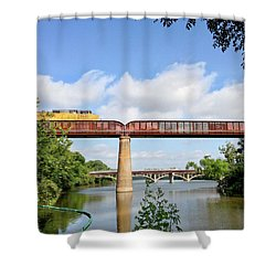 Train Across Lady Bird Lake Shower Curtain