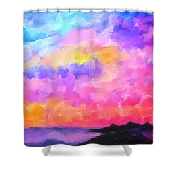 Shower Curtain featuring the mixed media Sunset Serenade Memories by Mark Tisdale
