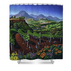 Quail Strolling Along Vineyard Wine Country Landscape - Vintage Americana Shower Curtain