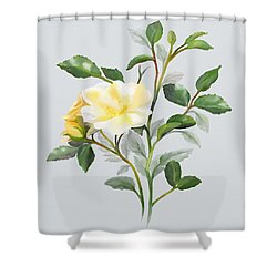 Yellow Watercolor Rose Shower Curtain