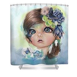 Shower Curtain featuring the mixed media Indigo - Butterfly Keeper - Munchkinz By Sheena Pike  by Sheena Pike