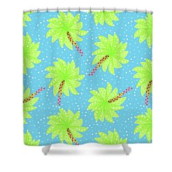 Green Flowers In The Wind Shower Curtain