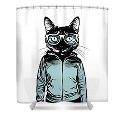Shower Curtain featuring the mixed media Cool Cat by Nicklas Gustafsson