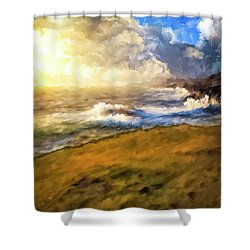 Shower Curtain featuring the mixed media In The Moment by Mark Tisdale