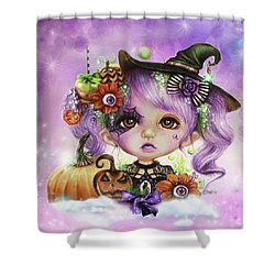 Shower Curtain featuring the drawing Halloween Hannah - Munchkinz Character  by Sheena Pike