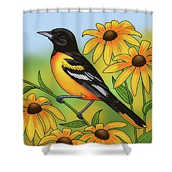 Maryland State Bird Oriole And Daisy Flower Shower Curtain