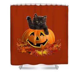 Pumpkin Kitty Shower Curtain