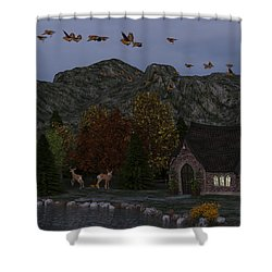 Shower Curtain featuring the digital art Country Church Autumn At Twilight by Methune Hively