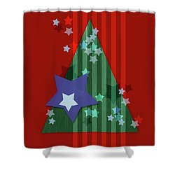 Stars And Stripes - Christmas Edition Shower Curtain by AugenWerk Susann Serfezi