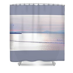 Lake Champlain South From Atop Battery Park Wall Panorama Shower Curtain
