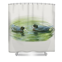 Shower Curtain featuring the painting Blue Ducks  by Ivana Westin