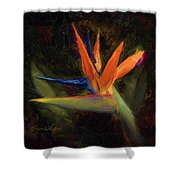 Shower Curtain featuring the painting Extravagance - Tropical Bird Of Paradise Flower by Karen Whitworth