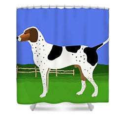 German Shorthaired Pointer In A Field Shower Curtain