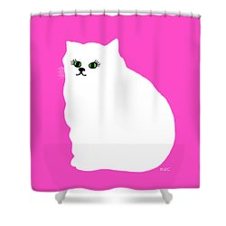 Cartoon Plump White Cat On Pink Shower Curtain