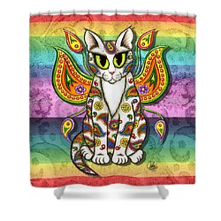 Rainbow Paisley Fairy Cat Shower Curtain