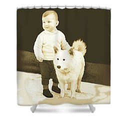 Sweet Vintage Toddler With His White Mutt Shower Curtain