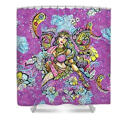 Purple Paisley Flower  Shower Curtain