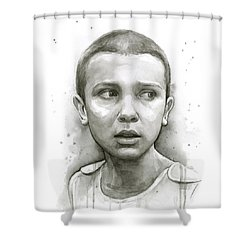 Stranger Things Eleven Upside Down Art Portrait Shower Curtain by Olga Shvartsur