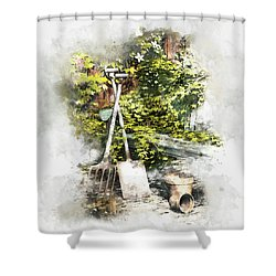 Shower Curtain featuring the digital art Garden Seat by Shanina Conway