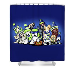 12 Dogs On Blue Shower Curtain by Kim Niles