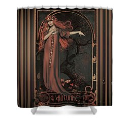 Shower Curtain featuring the digital art Autumn Art Nouveau  by Shanina Conway