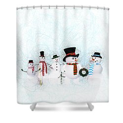 Shower Curtain featuring the painting Snowmen by Methune Hively