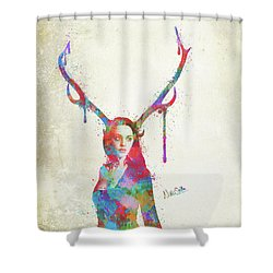 Shower Curtain featuring the digital art Song Of Elen Of The Ways Antlered Goddess by Nikki Marie Smith