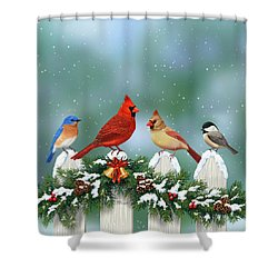 Winter Birds And Christmas Garland Shower Curtain by Crista Forest