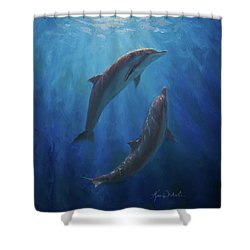 Shower Curtain featuring the painting Dolphin Dance - Underwater Whales by Karen Whitworth