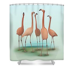 Shower Curtain featuring the painting Flamingo Mingle by Ivana Westin