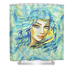 Shower Curtain featuring the painting Bird Of Secrets by Eva Campbell