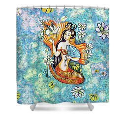 Shower Curtain featuring the painting A Letter From Far Away by Eva Campbell