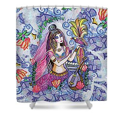 Shower Curtain featuring the painting Scheherazade's Bird by Eva Campbell