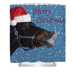 Snowy Horse Jumping Christmas Shower Curtain by Patricia Barmatz